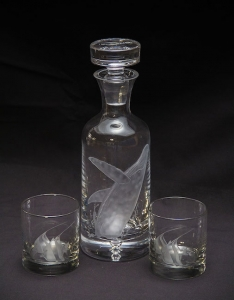 breaching humpback crystal decanter collection 3pc set