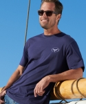 Wyland's Pima Cotton Crew T-Shirt with Embroidered Logo - Men's