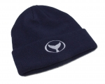 Cuff Knit Beanie with Embroidered Whale Tail Logo Navy