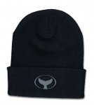 Cuff Knit Beanie with Embroidered Whale Tail Logo Black