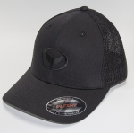 Whale Tail Logo Black Trucker Hat with Tonal Black Mesh and Embroidery