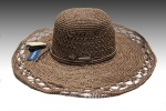 Tan Crochet Raffia Wide Brim Floppy Sun Hat
