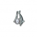 14K White Gold Dolphin Pendant with White Pearl and 3 Inlay Diamonds (.045K)