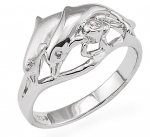 Wyland 2 Dolphin Ring in Sterling Silver - Size 6