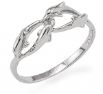 Wyland 4 Dolphins Interlocked Ring - Size 6