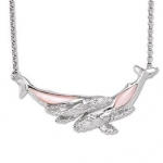 Wyland Whale Necklace w/ Mother of Pearl in Sterling Silver