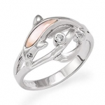 Wyland Dolphin Ring w/ Mother of Pearl in Sterling Silver - Size 6