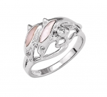 Wyland 2 Dolphin Ring with Mother of Pearl in Sterling Silver - Size 8