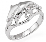 Wyland 2 Dolphin Ring in Sterling Silver - Size 8