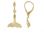 14K Whale's Tail Dangling Earrings - XS