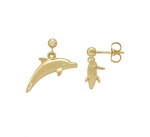 14K Dolphin Earrings - XS