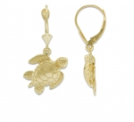 14K Sea Turtle Dangling Earrings - XS