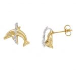 14K Dolphin Earrings - XXS