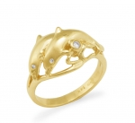 14K 2 Dolphin Ring -with White Diamonds