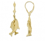 14K 2 Dolphins Hugging Earrings - Small