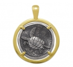 Wyland Turtle Coin Pendant in Sterling Silver & 14K Yellow Gold - 27mm