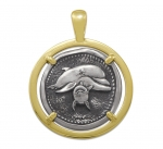 Wyland Dolphin Coin Pendant in Sterling Silver & 14K Yellow Gold - 27mm