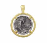 Wyland Mermaid Coin Pendant in Sterling Silver & 14K Yellow Gold - 23mm