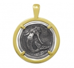Wyland Mermaid Coin Pendant in Sterling Silver & 14K Yellow Gold - 27mm