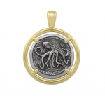 Wyland Octopus Coin Pendant in Sterling Silver & 14K Yellow Gold - 23mm