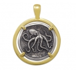 Wyland Octopus Coin Pendant in Sterling Silver & 14K Yellow Gold - 27mm