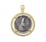 Wyland Whale Tail Coin Pendant in Sterling Silver & 14K Yellow Gold - 23mm