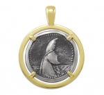 Wyland Whale Tail Coin Pendant in Sterling Silver & 14K Yellow Gold - 27mm