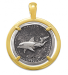 Wyland Dolphin Coin Pendant in Sterling Silver & 14K Yellow Gold - 23mm