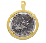 Wyland Marlin Coin Pendant in Sterling Silver & 14K Yellow Gold - 23mm
