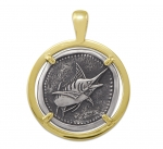 Wyland Marlin Coin Pendant in Sterling Silver & 14K Yellow Gold - 27mm