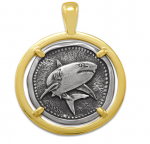 Wyland Shark Coin Pendant in Sterling Silver & 14K Yellow Gold - 23mm