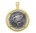 Wyland Shark Coin Pendant in Sterling Silver & 14K Yellow Gold - 27mm