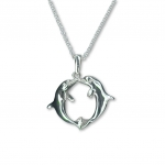 Wyland Sterling Silver Kissing Dolphin Pendant Necklace