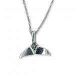 Wyland Sterling Silver Medium Whale Tail Pendant with Black Diamonds