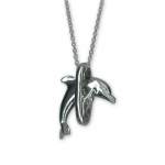 Wyland Sterling Silver Leaping Dolphin Pendant with Chain