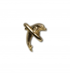 Wyland 14K Gold Leaping Dolphin Pendant