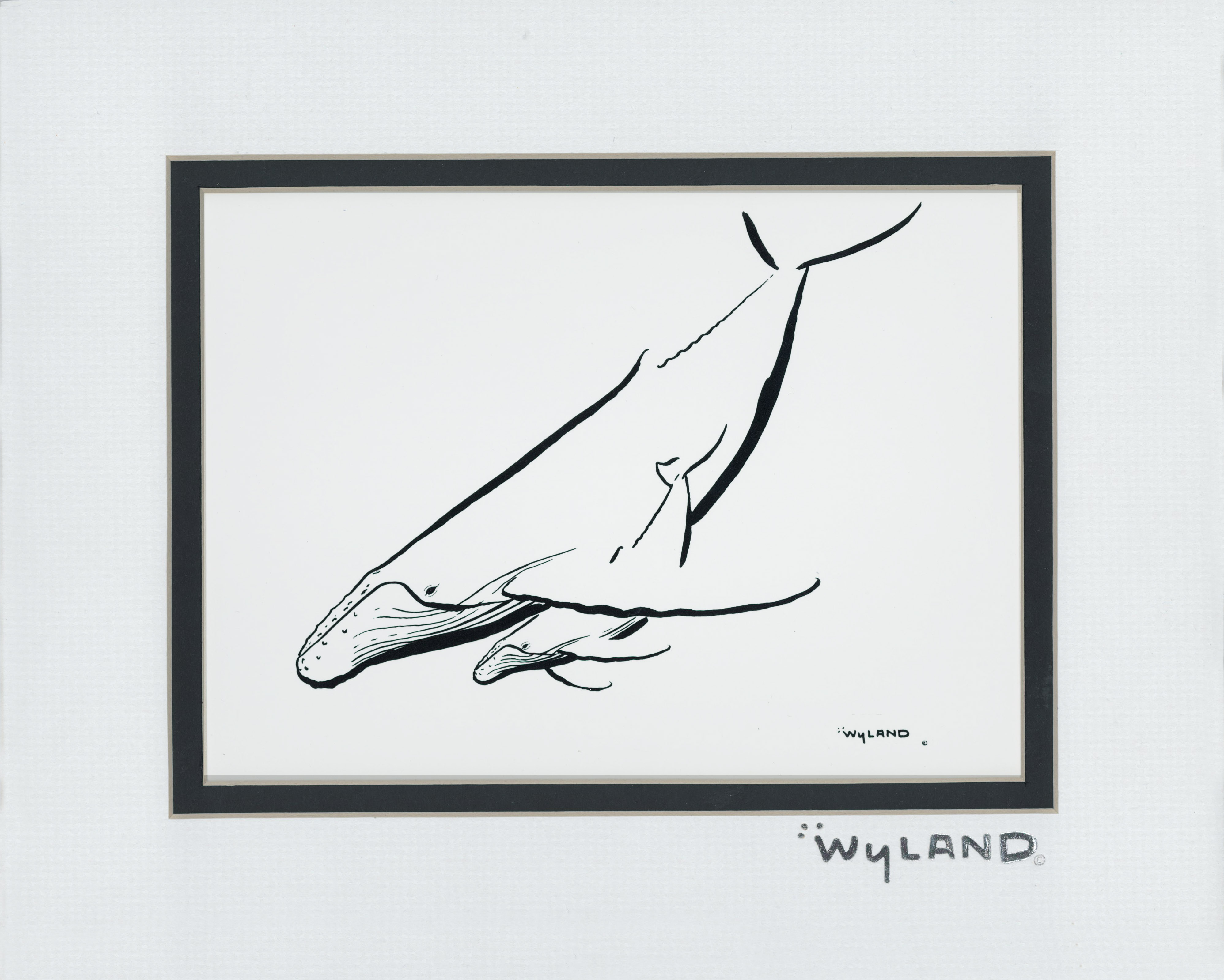 "HUMPBACK WITH CALF (10"" X 8"" MATTED)"